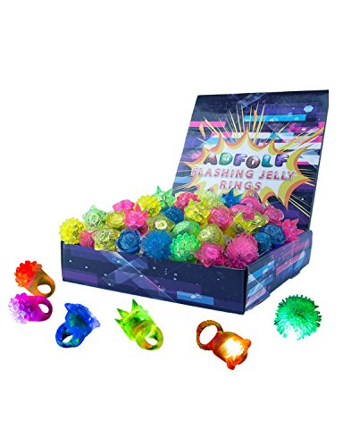 ADFOLF Flashing Light Up Ring Toys LED Finger Lights Party Favor Hallowee Christmas,36 Pack or 12 Pack Blinking Bumpy Jelly Rubber Rings