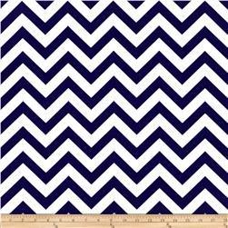 Navy Blue Chevron Valance Curtain, Baby Nursery window treatment. Blue and white stripes. 54 \