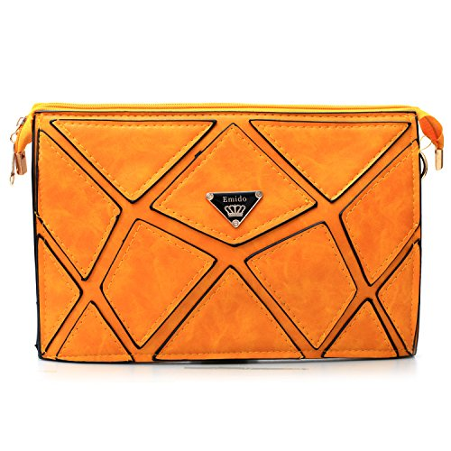 Biachieveway Fashion Leather Envelope Clutch with Drop-in Chain Shoulder Strap