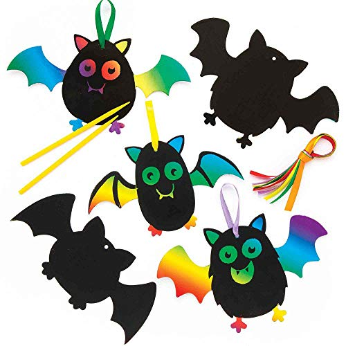 Baker Ross Bat Scratch Art Decorations (Pack of 10) for Kids Halloween Crafts and Decorations