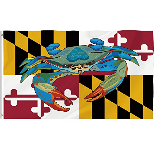 Bonsai Tree Maryland Flag 3x5 Ft Double Sided and Double Stitched Maryland State Flags with Brass Grommets, American Maryland Crab Decal Garden House Outdoor Banners