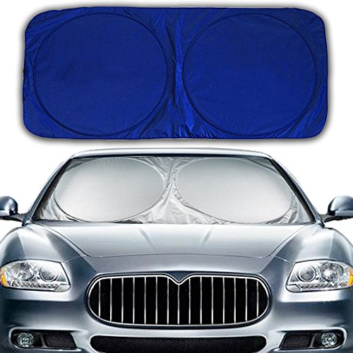 "Hippo Front Car Windshield Sunshade Standard Sun Shade Keeps Vehicle Cool-UV Ray Protector Sunshade-Easy to Use Sun Shade-Silver(57.7X29.2"")"