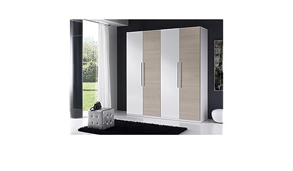 AMUEBLA 128.Armario DE 4 Puertas Colores Blanco/Roble Legno ...