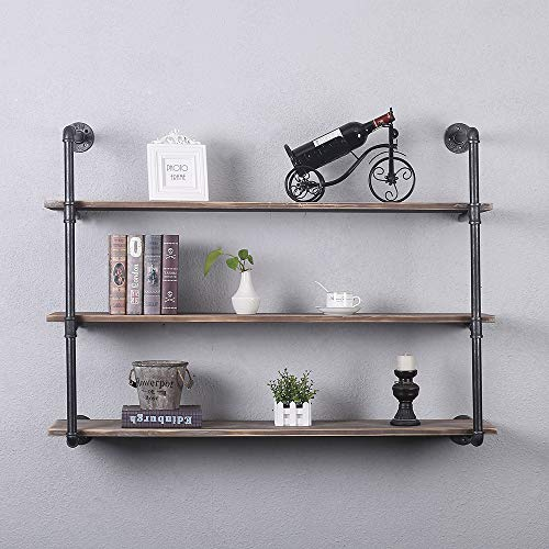 GWH Industrial Pipe Shelving Wall Mounted,48in Rustic Metal Floating Shelves,Steampunk Real Wood Book Shelves,Wall Shelf Unit Bookshelf Hanging Wall Shelves,Farmhouse Kitchen Bar Shelving(3 Tier) ()