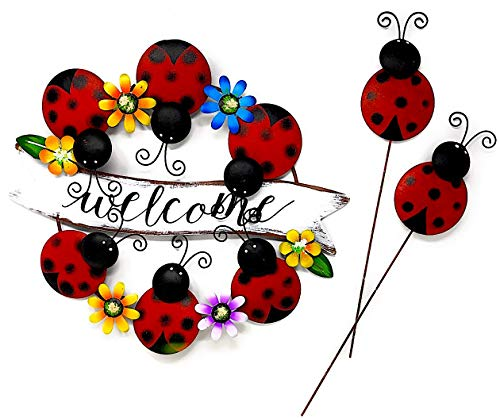 DI Inc Set of Metal Welcome Door Wall Wreath Decoration and 2 Garden Stakes Indoor Outdoor Metal Colorful (Ladybug)