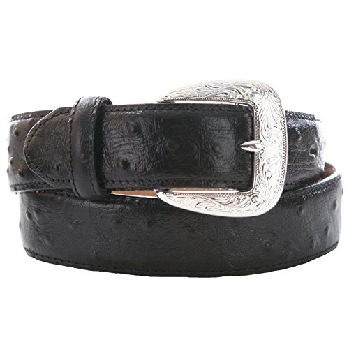 Tony Lama Men's Ostrich Print Leather Belt Reg And Big Black 46