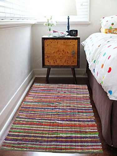 Eco friendly 100% recycled cotton colorful chindi area rug - 3'X5' (Rag Rugs Small)
