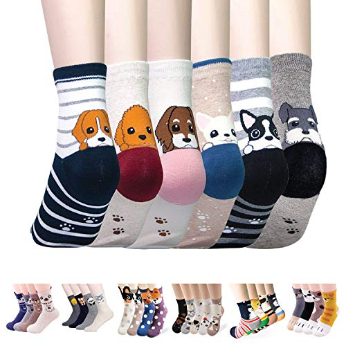 Womens Casual Socks - Cute Crazy Lovely Animal Cats Dogs Pattern Good for Gift One Size Fits All (Cats and Dogs)