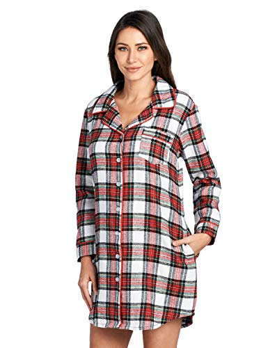 Ashford & Brooks Women's Flannel Plaid Sleep Shirt Button Down Nightgown, Dress Stewart, Large