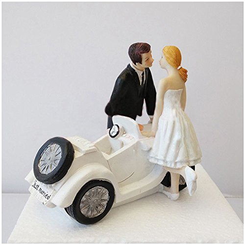 Figurines & Miniatures - Wholesale 1 White Black Resin Bride And Groom Car Kiss Decoration Ornaments Doll Size 14 12 13cm - Chairs Luggage Kneeling Lingerie 2019 Toasting Personalized Balloo