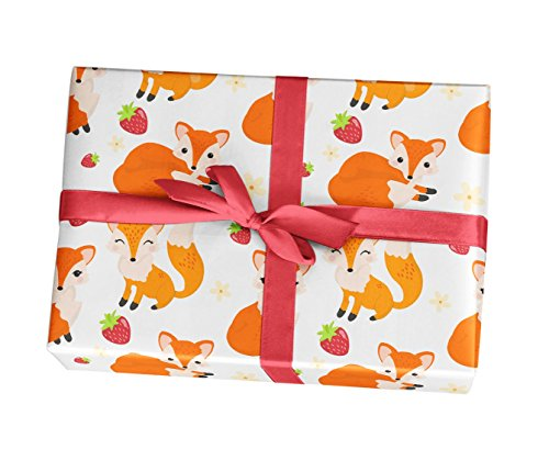 Fox wrapping paper sheets - 10 pack of 11x17 wrapping paper sheets - For girl birthday party, baby shower, supplies, decorations - Made in the USA by Custom Party Decorations