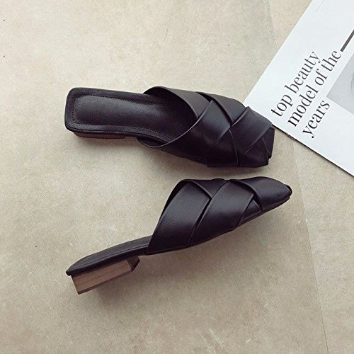 Mujer Retro Parte Inferior GTVERNH Drag Superficie Tacón Suave Verano Tejida para de Cool Transpirable Zapatillas negro Wind de H11q6x8