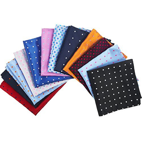 Pangda 12 Pieces Men's Suit Pocket Square Dots Handkerchief Hanky for Wedding, Party, Any Occasion, 12 Colors