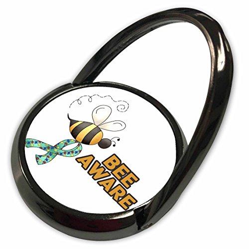 - 3dRose Dooni Designs Cause Awareness Ribbon Designs - Bee Be Aware Autism Awareness Ribbon Cause Design - Phone Ring (phr_113528_1)