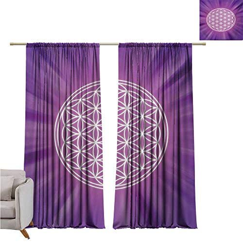 Anzhutwelve Sacred Geometry,Room Divider Curtain Abstract Overlapping Circles on Spiritual Vibrant Background Print W108 x L108 Large -
