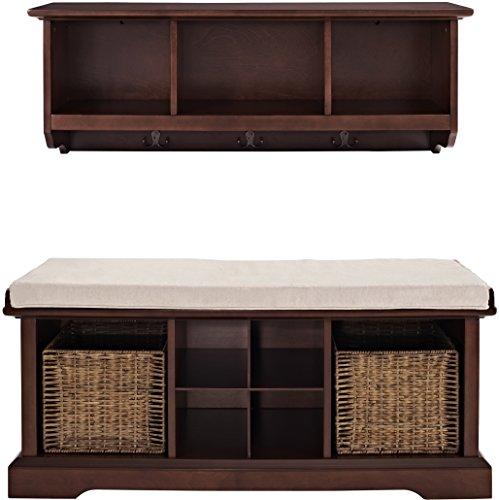 crosley furniture brennan entryway storage bench and hanging shelf set vintage mahogany lavorist. Black Bedroom Furniture Sets. Home Design Ideas