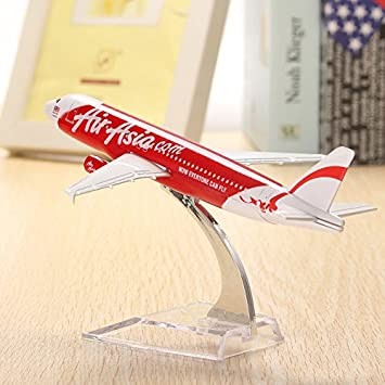 Generic WH A320 Diecast Air Asia Airplane Model (16cm,Red)