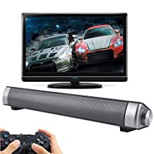 Jumphigh Bluetooth Small TV Sound Bar with 3.0 Channel Wireless Subwoofer Stereo Speaker (Silver)
