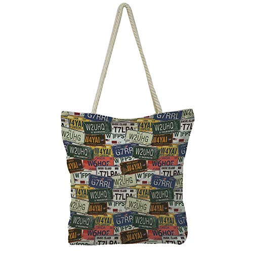 (iPrint Handbag Cotton and Linen Shoulder Bag High-capacityUSA,Retro American Auto License Plates Utah Washington Rhode Island North Carolina Print,Multicolor,Graph Customization Design.)