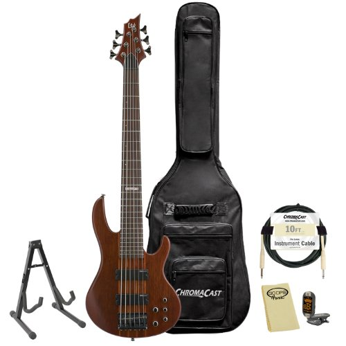 ESP LTD D-6-NS Natural Satin 6-String Electric Bass w/ Accessories & Gig Bag by GoDpsMusic