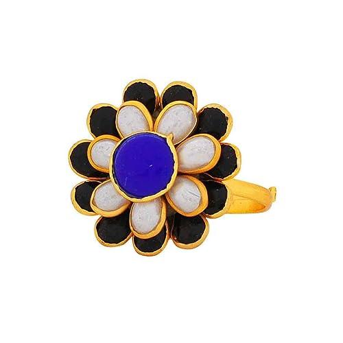 Maayra Anillo de boda ajustable con perlas azules y blancas: Amazon.es: Joyería