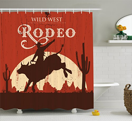 Vintage Shower Curtain by Ambesonne, Rodeo Cowboy Riding Bull Wooden Old Sign Western Wilderness at Sunset Image, Fabric Bathroom Decor Set with Hooks, 70 Inches, Redwood Orange
