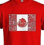 Mens Mexico Flag T Shirt Tee Red Mexican Bandana LA Raza Chicano Low Rider Tattoo