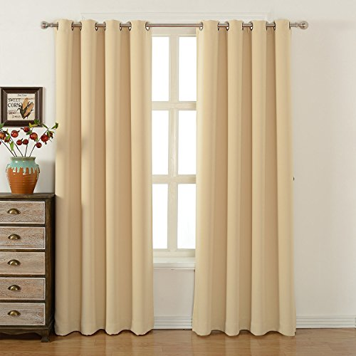 Blackout Kitchen Curtains Polyester Valance Tiers 3: Blackout Bedroom Curtains Set 100% Polyester Grommet Top