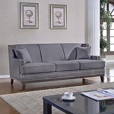 Modern Soft Linen Fabric Sofa with Nailhead Trim Detail