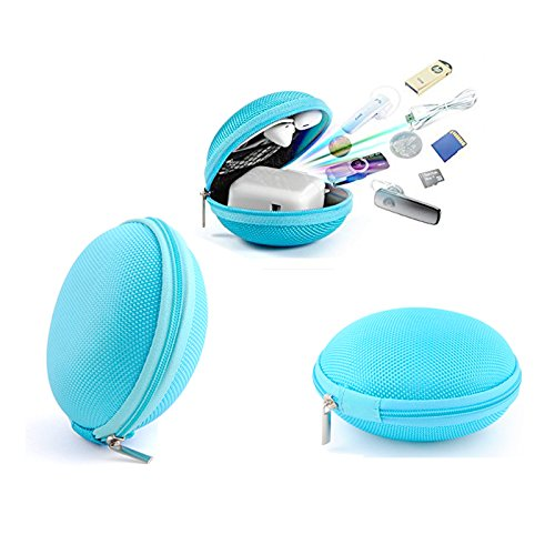 Zepthus Headphone Case, USB Cable Case, Universal Carrying Travel Case, Hard Carrying Case, Hard Drive Case, Electronics Accessories Case for USB Cable, Flash Drive, Headphone- Blue case