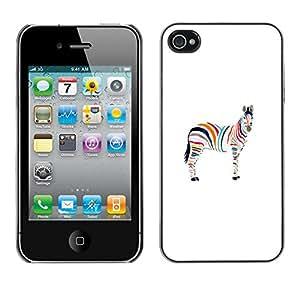 X-ray Impreso colorido protector duro espalda Funda piel de Shell para Apple iPhone 4 / iPhone 4S / 4S - Minimalist Zebra Artistic Gay