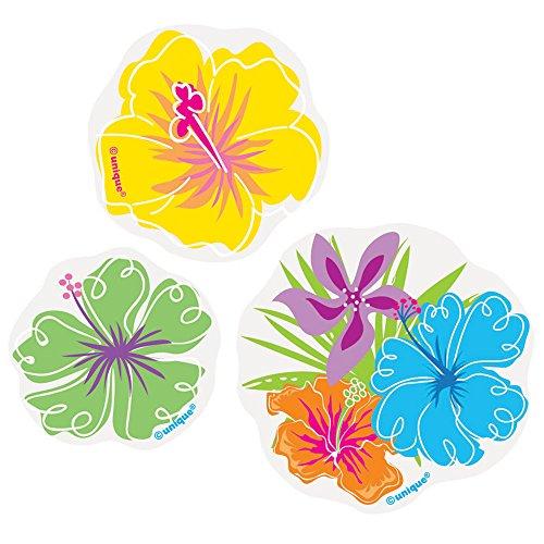 Paper Confetti Cut Out Hibiscus Luau Decorations, 24ct