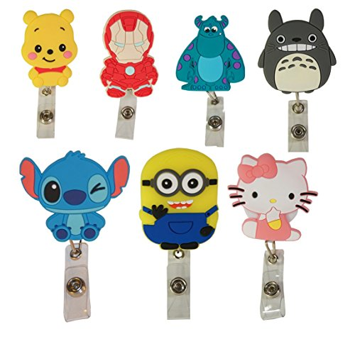 Cartoon Retractable Badge Reel - Holder for ID and Name Tag with Belt Clip, Horizontal Sleeve Included (Totoro)