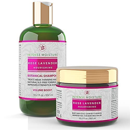 Botanical Hair Conditioner - Anti Hair Loss Alopecia Postpartum Shampoo and Conditioner Rose - Lavender Value Set Intense Moisture Nourishing Botanical Hair Growth with Argan Oil Vitamins for Dry Damaged Hair