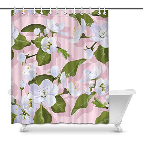 InterestPrint Spring Apple Blossom Fabric Bathroom Shower Curtain Decor Set with Hooks, 60 x 72 Inches Long