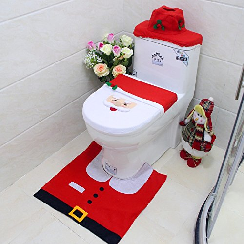Happy Christmas Santa Toilet Seat Cover & Rug Bathroom Set Christmas Decorations