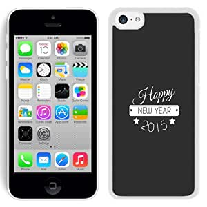 Beautiful Unique Designed iPhone 5C Phone Case With Happy New Year Typography_White Phone Case
