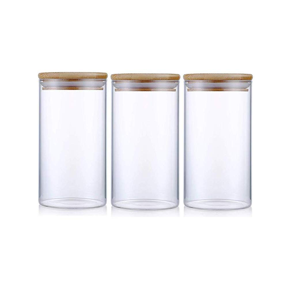 Glass Storage Jar Airtight Food Storage Canisters Set of 3 Glass Coffee Jar Kitchen Food Storage Container with Bamboo Lid for Serving Tea, Coffee, Spice and More (650ML)