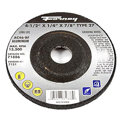 Forney 71886 Grinding Wheel with 7/8-Inch Arbor, Aluminum Type 27, AC46-BF,  4-1/2-Inch-by-1/4-Inch