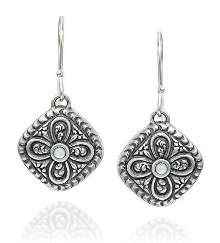 Antique Style 925 Sterling Silver Mother of Pearl Earrings Diamond Shaped With Ornate Floral Design