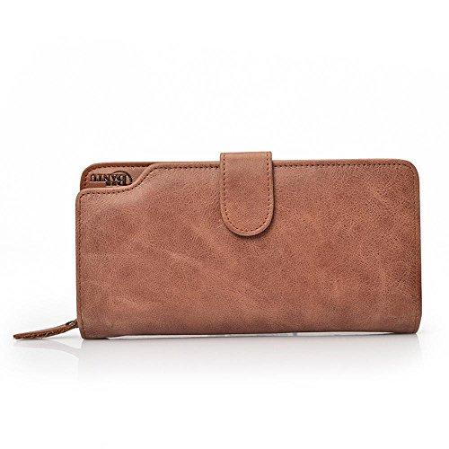 Aoligei Hommes de carte multi-sac main cuir grand portefeuille tenant sac business loisirs tête en cuir A