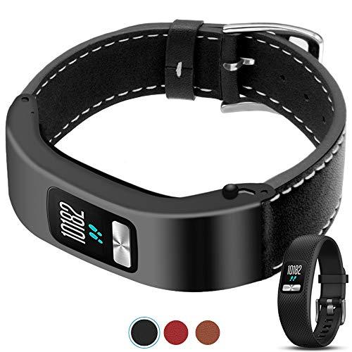 C2D JOY for Garmin Vivofit 4 Case Leather Bands - Metal Steel Case with Leather Bands Only for Garmin Vivofit 4 Black (5.9-8.2in)