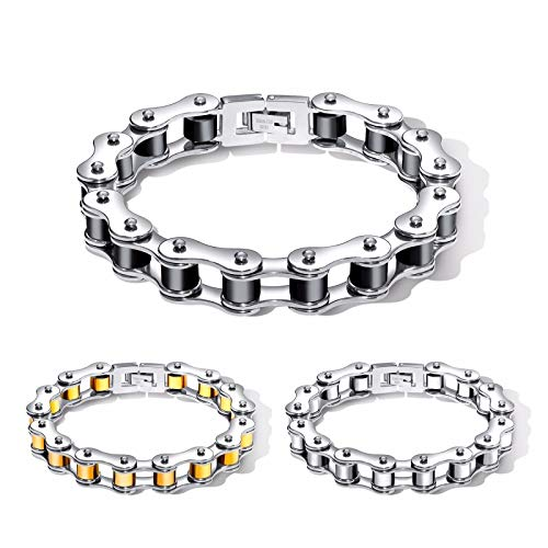 - V-Moni Factory Direct Sales Hot 12mm Black Rolling Bicycle Bracelet Locomotive Chain Stainless Steel Jewelry Steel