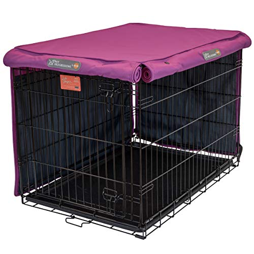 Pet Progressions by K&H 36 Inch Dog Crate Cover, Navy - Tear Resistant Dog Kennel Covers