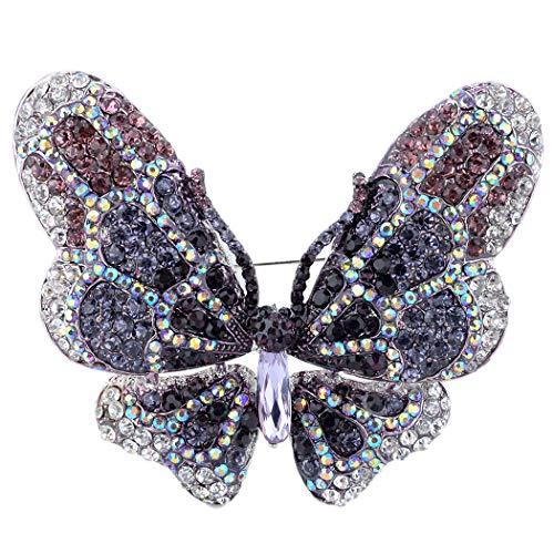 EVER FAITH Women's Austrian Crystal Butterfly Brooch Deep Purple Silver-Tone