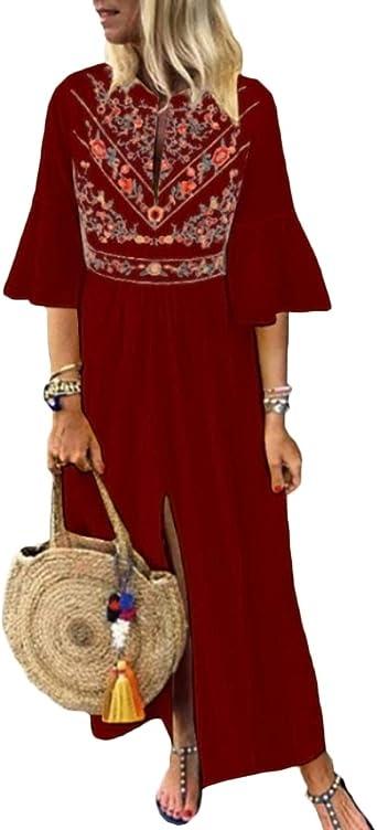 Hahaemma - Vestido para mujer de manga larga, estilo retro, de lino, de algodón, desenfadado, vestido largo de verano, ancho y elegante 16093 WR M: Amazon.es: Ropa y accesorios