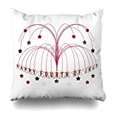 Decorative Pillow Cover 20''X20'' Two Sides Printed Starburst Fountain Fourth Of July Throw Pillow Cases Decorative Home Decor Indoor/Outdoor Nice Gift Kitchen Garden Sofa Bedroom Car Living Room