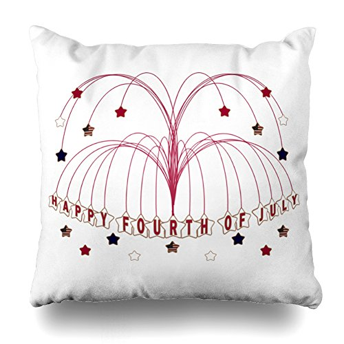 Decorative Pillow Cover 20''X20'' Two Sides Printed Starburst Fountain Fourth Of July Throw Pillow Cases Decorative Home Decor Indoor/Outdoor Nice Gift Kitchen Garden Sofa Bedroom Car Living Room by Soopat
