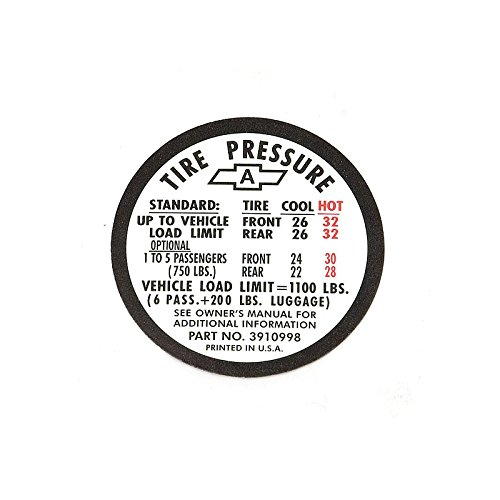 Tire Pressure Decal - Eckler's Premier Quality Products 50-204079 Chevelle Decal, Tire Pressure, Super Sport (SS)