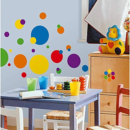 BUCKOO Polka Dots Wall Decals(132 Decals) Easy to Peel&Stick Polka Dots Wall Decals Safe on Walls Paint Removable Primary Colors Vinyl Polka Dot Decor Round Wall Stickers for Nursery Room ()